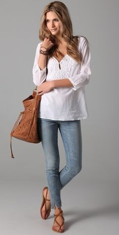 summer blouse ,jean and leather bag