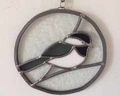 Stained Glass Suncatcher, Black and White Bird Stained Glass, Vintage Home Decor, Window Decor Stained Glass Birds, Stained Glass Projects, Stained Glass Patterns, Stained Glass Windows, Mosaic Art, Mosaic Glass, Mosaics, Black And White Birds, Glass Animals