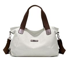 New Trending Tote Bags: LINGTOM Canvas Shoulder Bags Vintage Hobo Handbags Top Handle Tote Bags for Women, Beige White. LINGTOM Canvas Shoulder Bags Vintage Hobo Handbags Top Handle Tote Bags for Women, Beige White   Special Offer: $21.99      300 Reviews Features: – Cool and simple design keeps you eye-catching and attractive. – Free wearing style to show your own fashion taste; Whether carrying...