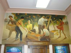 """Post Office 92834 (Fullerton, California)    Title: """"Orange Pickers""""  Artist: Paul Julian  Year: 1942  It is an oil on canvas and the only WPA post office mural in Orange County, California"""