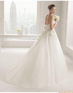 Prinzessin Romantische Traumhafte Brautkleider aus Softnetz mit Applikation