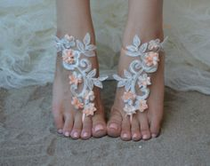 black Free ship barefoot sandals Beach wedding shoes by UnionTouch