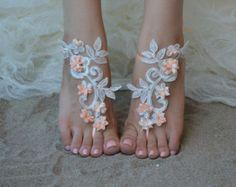 Free Ship Beach wedding barefoot sandals Beach shoes, bridal sandals, lace sandals, wedding bridal, ivory accessories, barefoot sandals