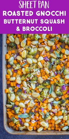 Pinterest collage for Sheet Pan Roasted Gnocchi, Butternut Squash and Broccoli