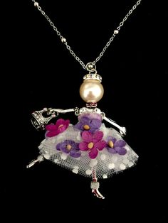 Great jewelry for birthday gifts -- french doll necklace with crown charm and flower dress