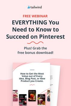 Every wonder what the successful Pinterest marketers know that you may not? It's all here in Tailwind's new Pinterest webinar. From keyword research to Trends, to finding a whole new audience for your content, catch up to the pros in just 1 hour - for free! Sign up and watch now. Top Social Media, Social Media Marketing, Successful Online Businesses, Free Sign, Pinterest For Business, Money Matters, Pinterest Marketing, How To Start A Blog, Need To Know