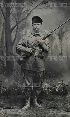 Young Theodore Roosevelt dressed in deer skins posing with a rifle in an 1885 studio portrait. In 1884 he wrote articles about frontier life for Eastern magazines and in 1886 he ran for Mayor as the 'The Cowboy of the Dakotas ' coming in third.  Young Theodore Roosevelt dressed in deer skins posing with a rifle in an 1885 studio portrait. In 1884 he wrote articles about frontier life for Eastern magazines and in 1886 he ran for Mayor as the 'The Cowboy of the Dakotas ' coming in third. 1885