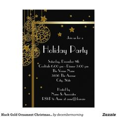 Black Gold Ornament Christmas Party 5.5x7.5 Paper Invitation Card