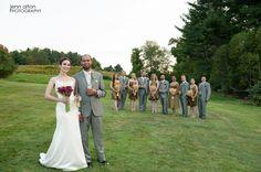 Bride and Groom with bridal party. #fruitlandsmuseum #firesidecatering #centralmawedding #rustingwedding #newenglandwedding #bride #groom #bridesmaids #groomsmen #colorscheme #outdoorwedding (Photo c/o Jenn Alton)