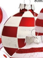 Christmas Decorations-Red & White Check Balls will make your Christmas POP!  Coupon Code-FANOFCHRISTMAS for 15% off