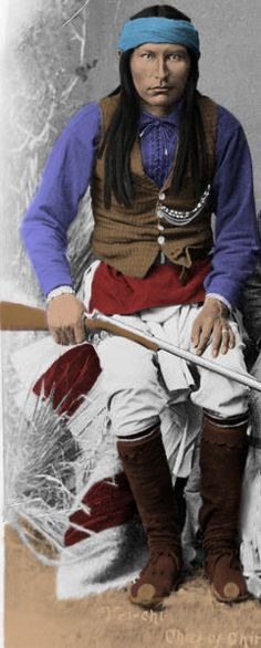 Cochise - Part IV: Cochise & his band were falsely accused of the incident (which had actually been perpetrated by Coyotero Apaches). An unsuspecting Cochise was invited to the Army's encampment by an inexperienced Army officer, Lt. George Bascom, who assumed that Cochise was responsible. Although the Apache leader truthfully maintained his innocence, & offered to look into the matter with other Apache groups, the young officer attempted to arrest him.