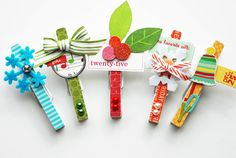 Altered Project: Merry and Bright Holiday Clothespins by Lisa Rubin Smith