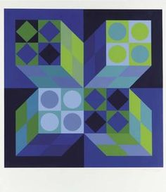 Compositions in Blue and Green - (Victor Vasarely)