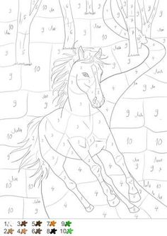 Horse in the forest - painting by number - color by number and dot Pferd im Wald – Malen nach Zahlen – color by number and dot to dot – Horse in the forest – paint by number and dot to dot – paint - Adult Color By Number, Color By Number Printable, Color By Numbers, Paint By Number, Horse Coloring Pages, Colouring Pages, Coloring Pages For Kids, Coloring Books, Intarsia Wood Patterns