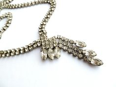 Vintage Clear Crystal Necklace with a by tangerinevintage on Etsy