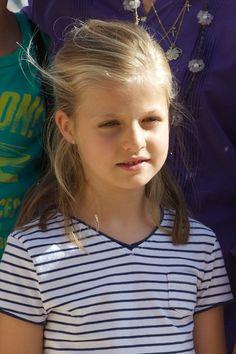 Princess Leonor of Spain at the Calanova Sailing School on August 02, 2013 in Palma de Mallorca, Mallorca, Spain.