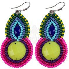 Gypsy Soule Neon Tear Drop Seed Bead Earrings DE551 #GypsySoule #DropDangle