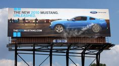 "Ford Mustang: Burnout. ""This billboard was showcased in Detroit, MI at the Woodward Dream Cruise, the world's largest one-day automotive event. A smoke machine was installed behind the board, and every few minutes the rear wheel would spin, spewing smoke for the ultimate one-minute burnout."" #Billboard"