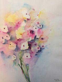 "Aquarell , "" Blumenstrauß  , Abstrackt"" 30 x 40 cm , Unikat, in Antiquitäten & Kunst, Malerei, Aquarelle   eBay!"