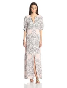 BCBGMAXAZRIA Women's Olivia Scarf Print Long Sleeve Caftan Maxi Dress - http://dressfitme.com/fashion/bcbgmaxazria-womens-olivia-scarf-print-long-sleeve-caftan-maxi-dress/