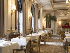 Four Seasons Hotel George V Paris Paris, France Food + Drink Romance chair function hall restaurant ballroom Dining palace banquet wedding reception dining table