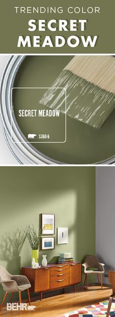 The old and the new come together in this mid-century modern dining room. Behr Paint in Secret Meadow creates a calming green accent wall that contrasts beautifully with the warm wood tones of this… Behr Paint Colors, Green Paint Colors, Paint Colors For Home, House Colors, Wall Painting Colors, Hall Paint Colors, Green Wall Color, Mid Century Modern Dining Room, Green Accent Walls