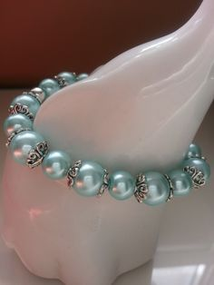 Pretty Blue Embellished Glass Pearl Stretch Bracelet by SparklingYouDesigns on Etsy