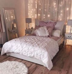 Superior Romantic Bedroom Inspiration Sophisticated White And Pink Bedroom String  Light Backdrop White Duvet Pink Accents