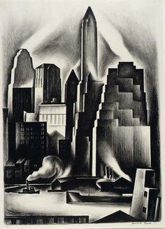 """Manhattan Skyline"" ~ Howard Cook. Etching and aquatint. eye-of-the-artist:"