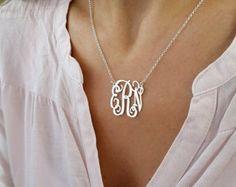 A la venta el 50% del monograma collar inicial - monograma personalizado - 925 plata esterlina, joyería personalizada