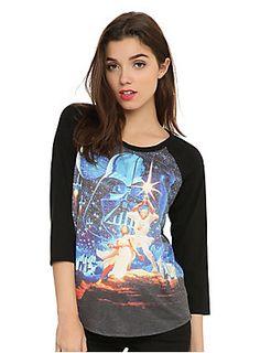 <p>Black raglan style top from Her Universe with a <i>Star Wars</i> poster art sublimation print design on front.</p>  <ul> <li>Self: 87% polyester; 10% rayon; 3% spandex</li> <li>Contrast: 50% polyester; 50% cotton</li> <li>Wash cold; dry low</li> <li>Imported</li> <li>Listed in junior sizes</li> </ul>