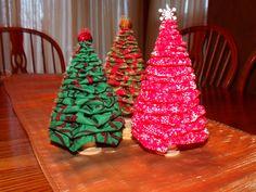 Darling Handmade Fabric YoYo Christmas Trees in by Theyoyos