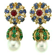 David Webb - David Webb Gem Set Earrings with South Sea Pearl Drops