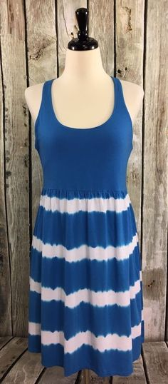 Soybu L Dress Blue/White Striped Tie Dye Cotton Knit Racerback Ruffle Shelf Bra #SOYBU #Sundress #CasualBeachLounge
