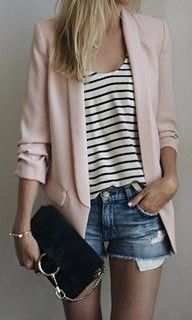 Pink Zara blazer with a striped shirt and denim cut-off shorts. See more at www.HerStyledView.com