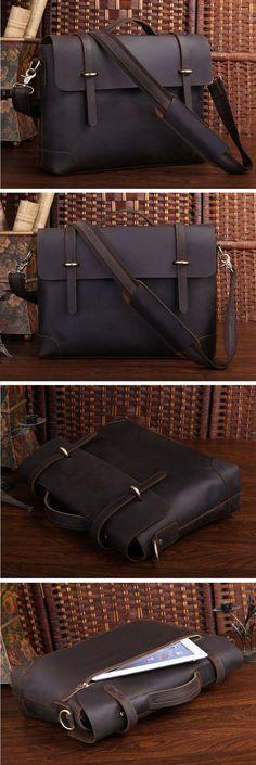 Crazy Horse Leather Laptop Bag, Briefcase, Messenger Bag Men Business Bag 0342