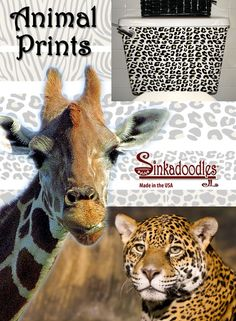 Sinkadoodles have gone WILD with Animal Prints! Bathroom Decals, Shower Doors, Animal Prints, Fun, Animals, Design, Animales, Animaux, Animal Patterns