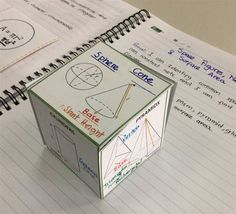 Surface Area Foldable is a very creative foldable with a net form. This is an attractive foldable for kids since it can be fold to form a cube. It contains vocabulary for nets, lateral Area, and surface area.It also contains formulas for Surface area of Prisms, Pyramids, Cylinders, Cones and Spheres. Math Notebooks, Interactive Notebooks, Math Resources, Math Activities, Math Helper, One Step Equations, Math Charts, Math Notes, Math Work