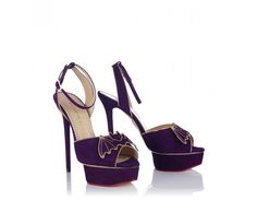 Charlotte Olympia 'Nocturnal' Halloween 2013 Collection Heels - Flicker in and out of the moonlight in Nocturnal. Gold bat silhouettes with glimmering red crystal eyes perch on these rich purple suede sandals.