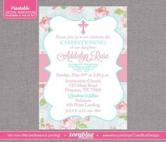Shabby Chic Baptism Invitation Girl Floral Christening Invitation First Communion Pink Blue Floral Pattern - Printable Digital File