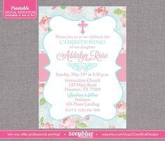 Shabby Chic Baptism Invitation Girl Floral Christening Invitation First Communion Pink Blue Floral Pattern - Printable Digital File