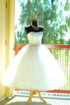 50's Vintage inspired Tulle wedding dress/gown --Can be Halter neckline-- tea length -Many colors available