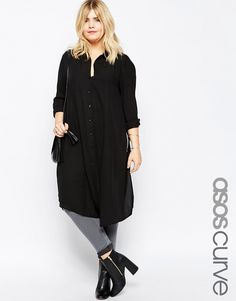 De sejeste ASOS CURVE Long Sleeve Maxi Blouse with High Splits - Black ASOS Curve Toppe til Damer i dejlige materialer