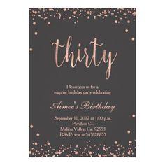 #gold - #Rose Gold 30th Birthday Invitation
