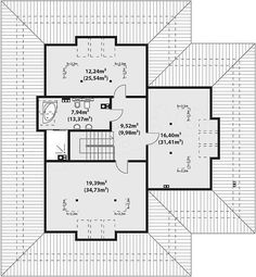 Rzut poddasza projektu Goran 3 Dream House Plans, Small House Plans, Modern Bungalow House, Planer, Floor Plans, House Design, How To Plan, Projects, Country Houses