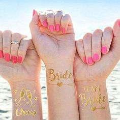 Bride Tribe Temporary Tattoos (Set of - Bachelorette Party - Team Bride Flash Tattoos - Waterproof Bridal Party Swag - Bridesmaid Hens Party - Wedding Party Favors - Gold Metallic Foil Wash-Off Tattoos - Team Bride Tattoo, Bride Tribe Tattoo, Henna, Custom Temporary Tattoos, Brides With Tattoos, Coffee Tattoos, Small Tattoos For Guys, Tattoo Set, Wedding Party Favors