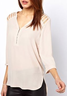 Light Pink Hollow-out V-neck Nine's Sleeve Synthetic Fiber Blouse