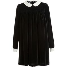 MEADHAM KIRCHHOFF Velvet Babydoll Dress (7.455 BRL) ❤ liked on Polyvore featuring dresses, black, vestidos, peter pan dress, black longsleeve dress, velvet babydoll dress, long sleeve velvet dress and black baby doll dress