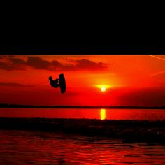 have a wakeboarding silhouette picture