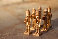wooden nutcrackers from hobby lobby spraypainted gold